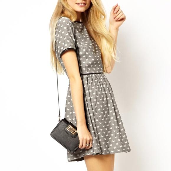 bfeecaa433f27 ASOS Petite Dresses | Women 6 Jaquard Skater Dress Cat Print | Poshmark